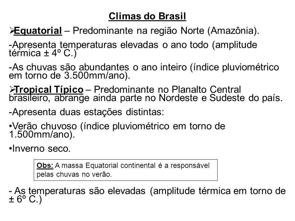 Equatorial – Predominante na região Norte (Amazônia).