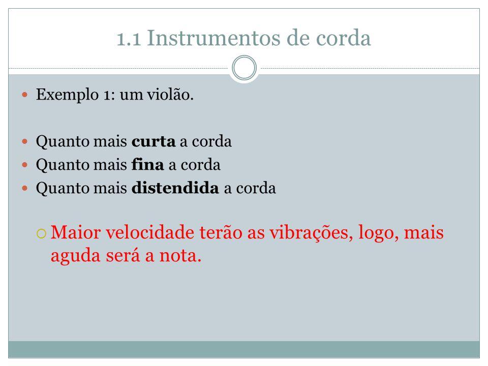 1.1 Instrumentos de corda Exemplo 1: um violão. Quanto mais curta a corda. Quanto mais fina a corda.