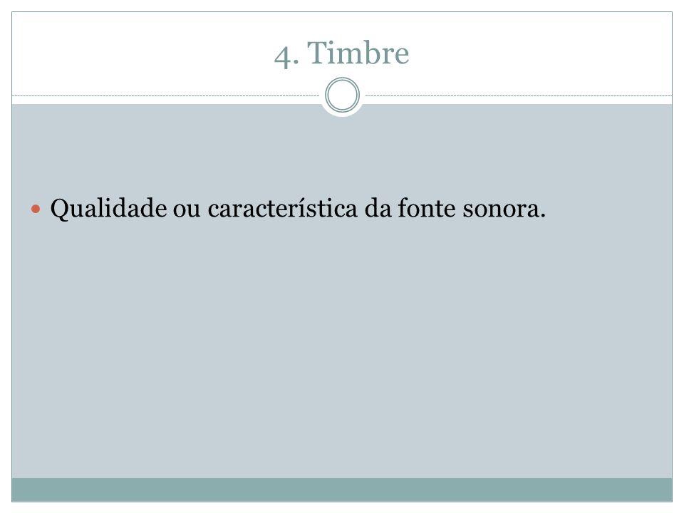 4. Timbre Qualidade ou característica da fonte sonora.
