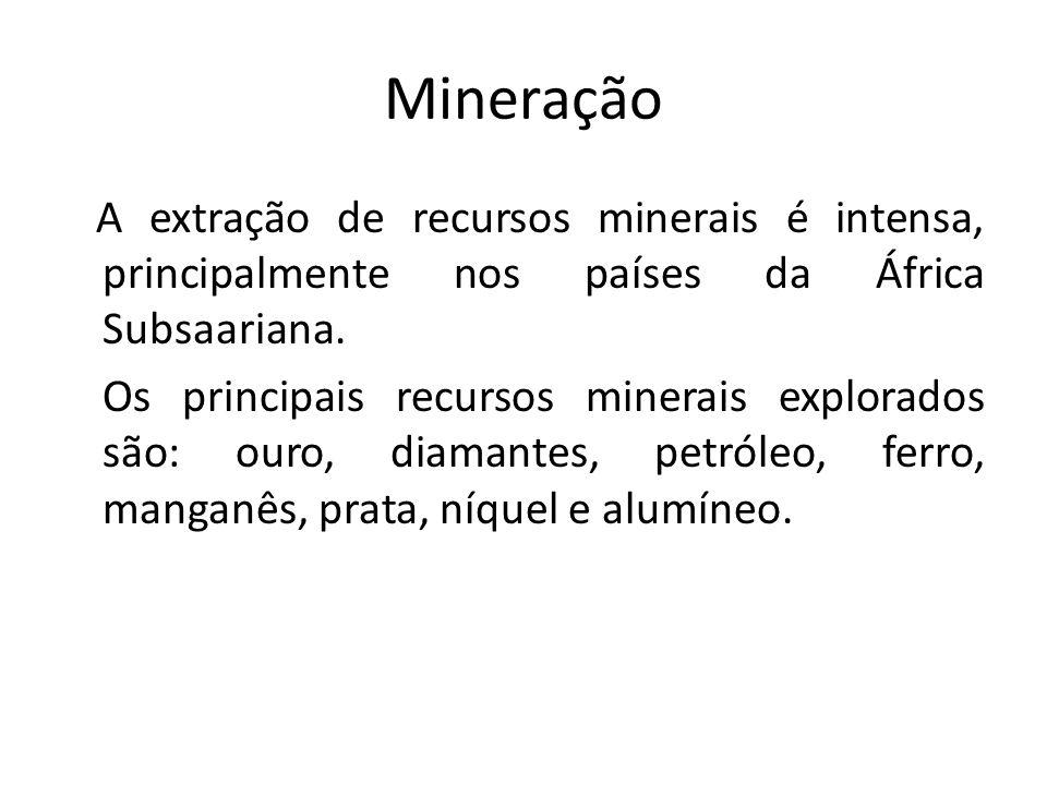 Mineração A extração de recursos minerais é intensa, principalmente nos países da África Subsaariana.