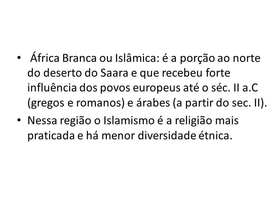 África Branca ou Islâmica: é a porção ao norte do deserto do Saara e que recebeu forte influência dos povos europeus até o séc. II a.C (gregos e romanos) e árabes (a partir do sec. II).
