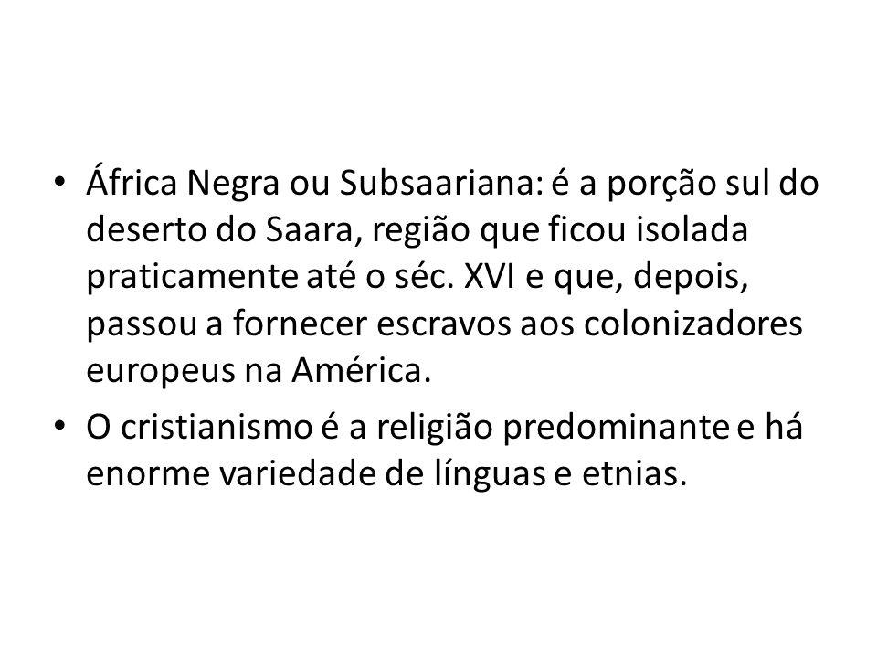 África Negra ou Subsaariana: é a porção sul do deserto do Saara, região que ficou isolada praticamente até o séc. XVI e que, depois, passou a fornecer escravos aos colonizadores europeus na América.