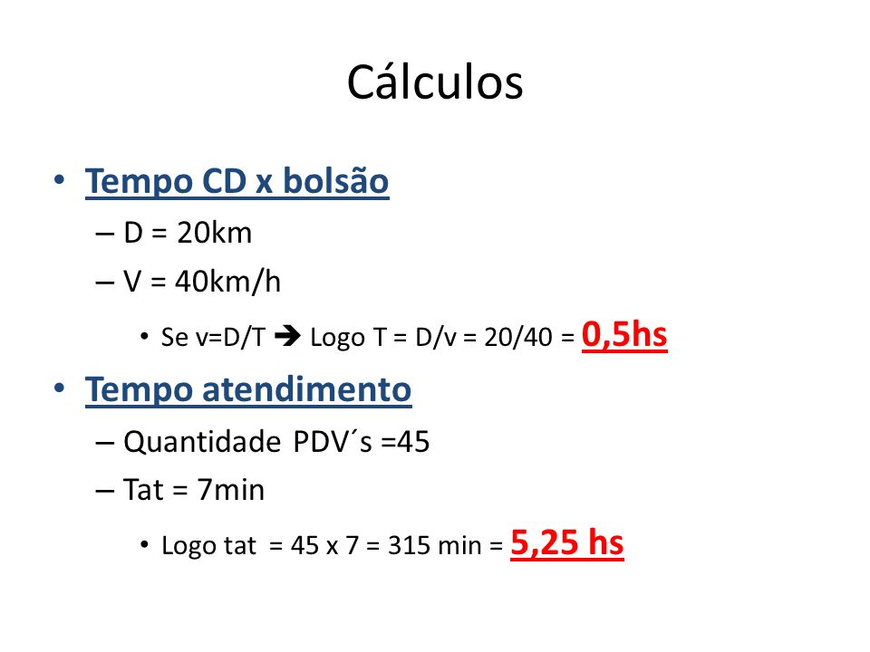 Cálculos Tempo CD x bolsão Tempo atendimento D = 20km V = 40km/h
