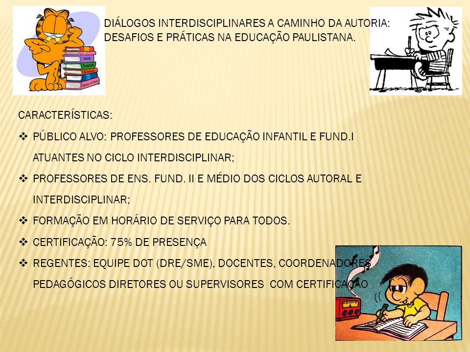 DIÁLOGOS INTERDISCIPLINARES A CAMINHO DA AUTORIA: DESAFIOS E PRÁTICAS NA EDUCAÇÃO PAULISTANA.