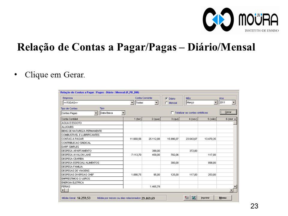 Relação de Contas a Pagar/Pagas – Diário/Mensal