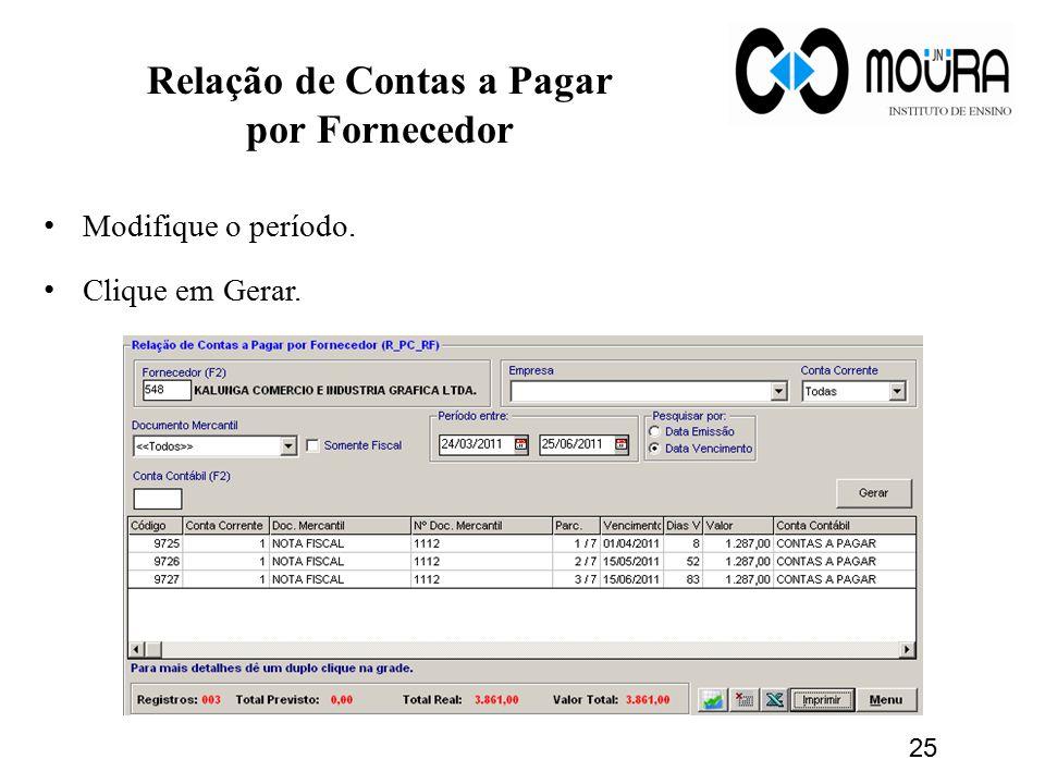 Relação de Contas a Pagar por Fornecedor