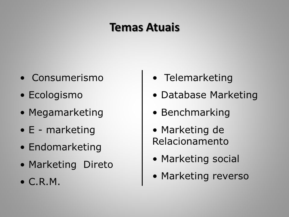Temas Atuais Consumerismo Ecologismo Megamarketing E - marketing