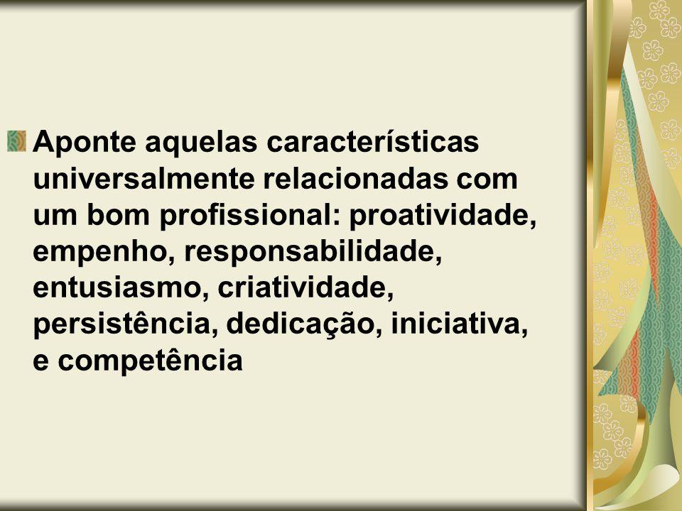 Aponte aquelas características universalmente relacionadas com um bom profissional: proatividade, empenho, responsabilidade, entusiasmo, criatividade, persistência, dedicação, iniciativa, e competência