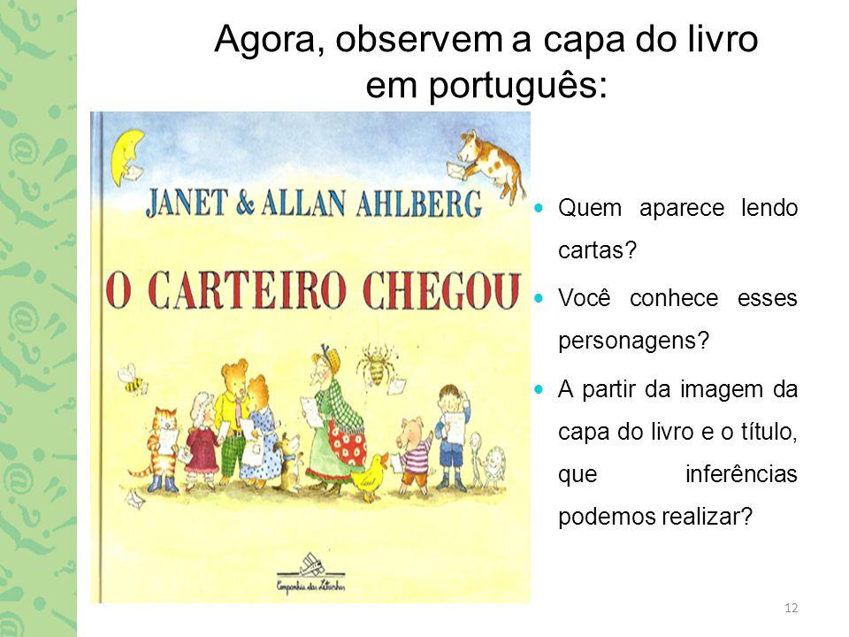 Agora, observem a capa do livro em português: