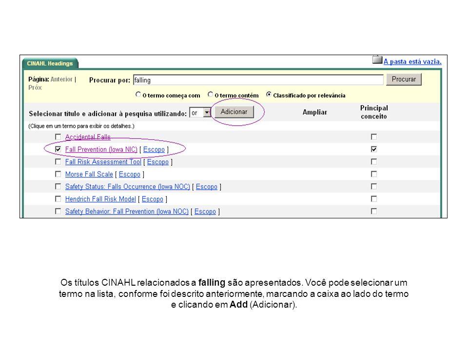 Os títulos CINAHL relacionados a falling são apresentados