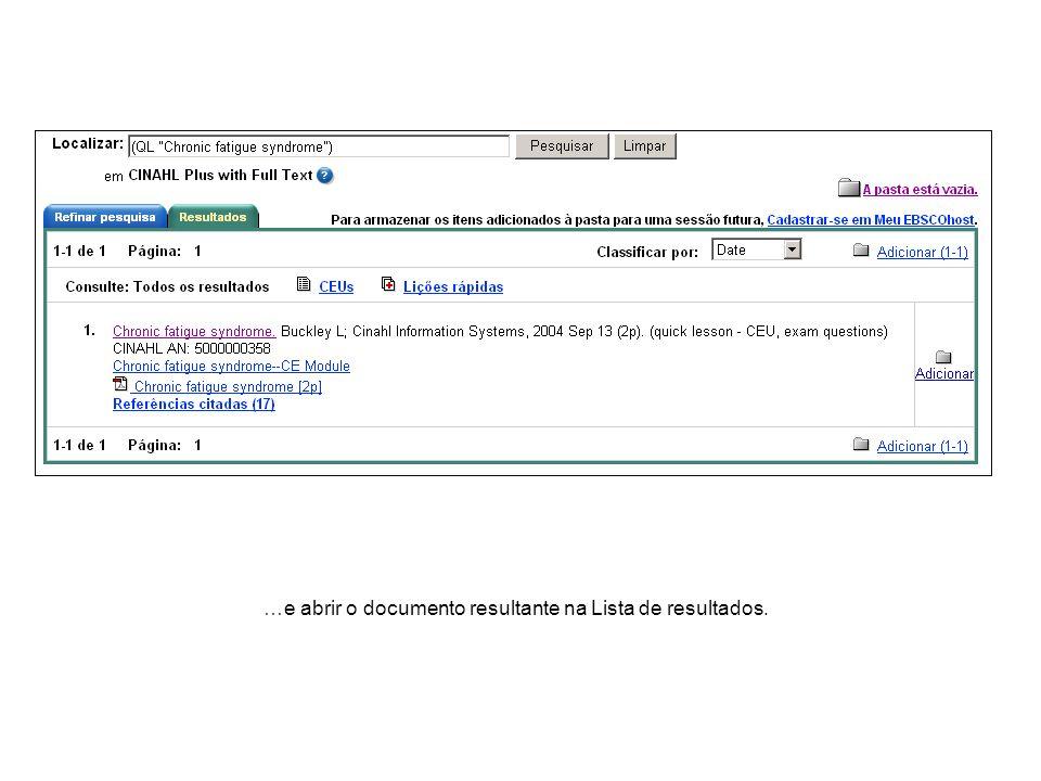 …e abrir o documento resultante na Lista de resultados.