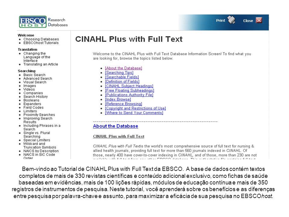 Bem-vindo ao Tutorial de CINAHL Plus with Full Text da EBSCO