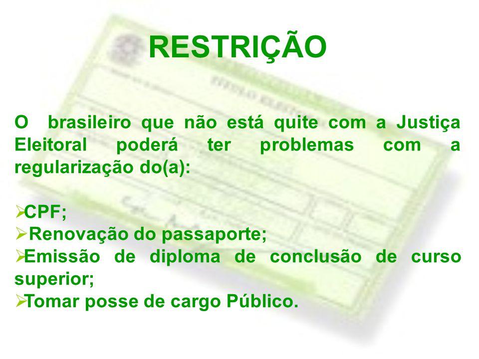 RESTRIÇÃO O brasileiro que não está quite com a Justiça Eleitoral poderá ter problemas com a regularização do(a):