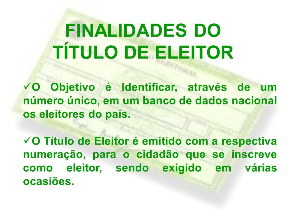 FINALIDADES DO TÍTULO DE ELEITOR