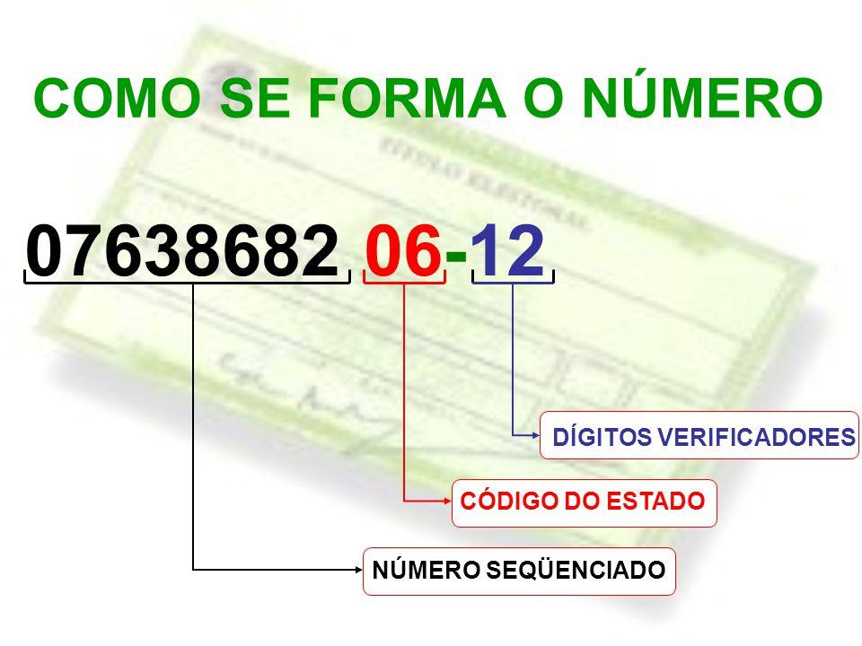 07638682 06-12 COMO SE FORMA O NÚMERO DÍGITOS VERIFICADORES