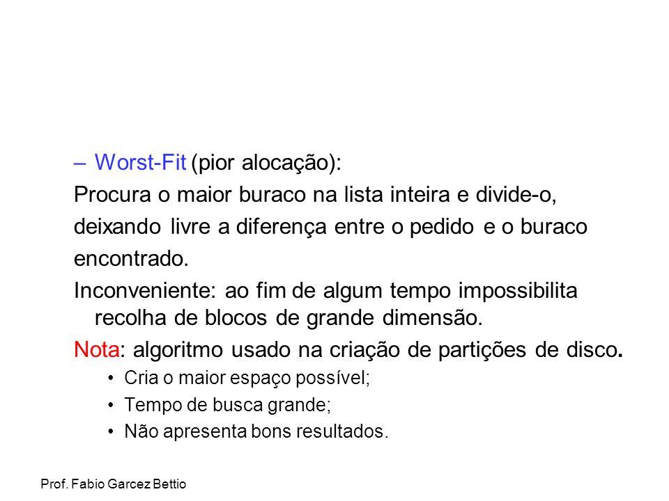 Worst-Fit (pior alocação):