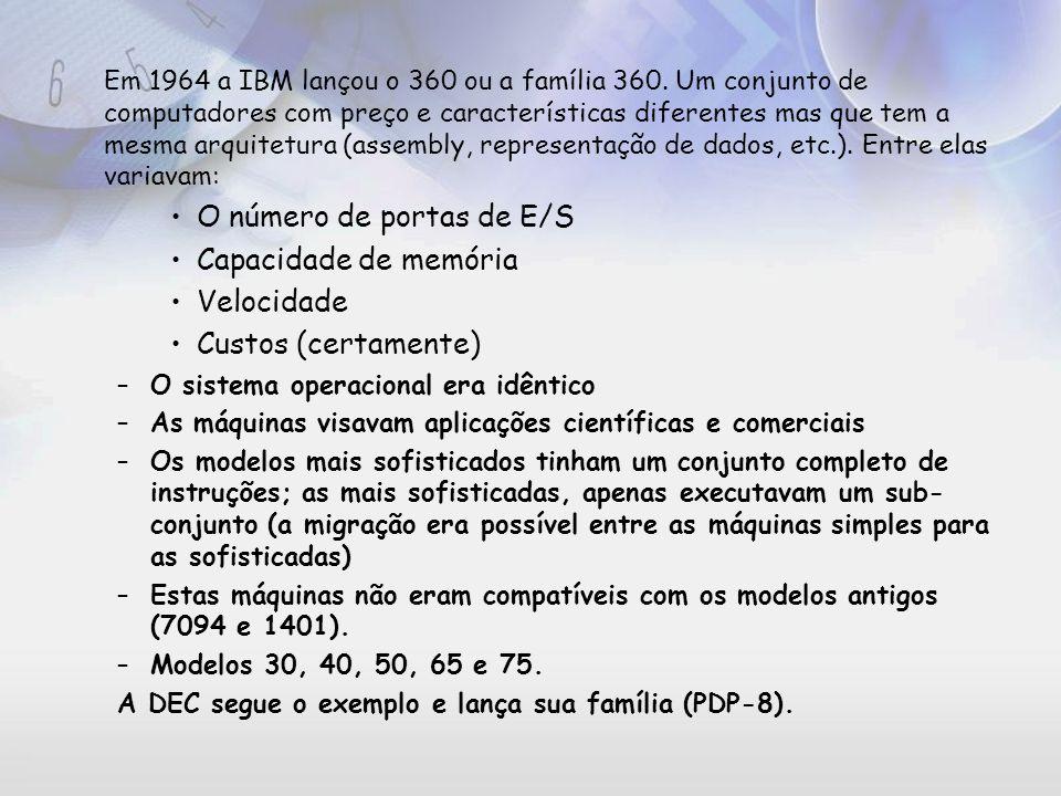 O número de portas de E/S Capacidade de memória Velocidade
