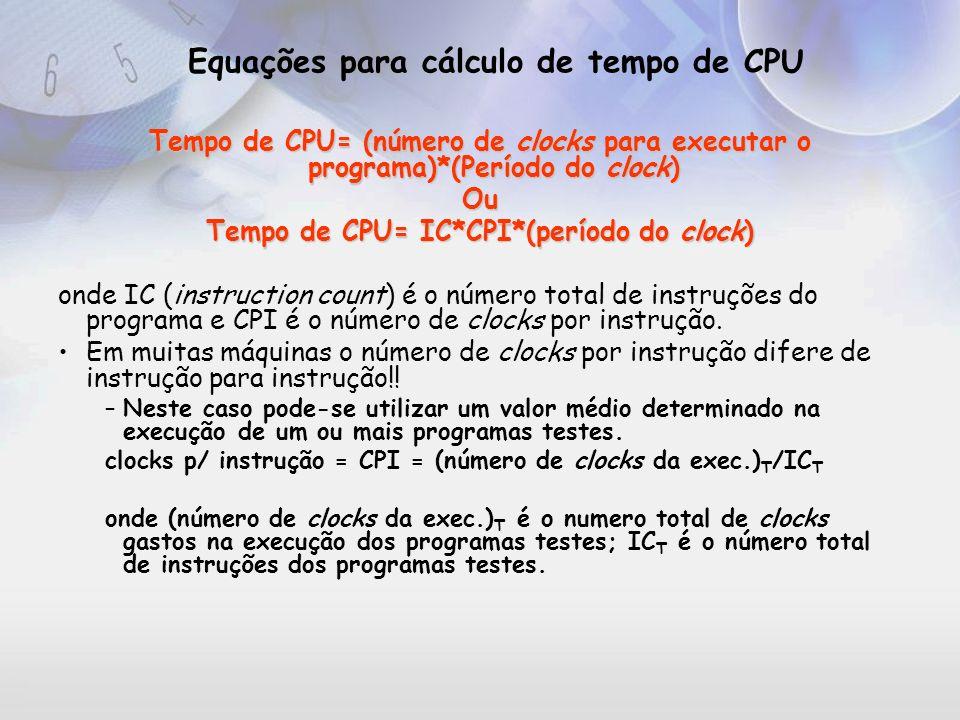 Equações para cálculo de tempo de CPU
