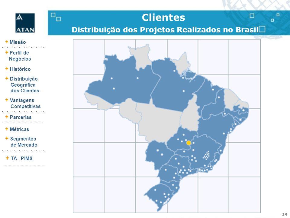 Clientes Distribuição dos Projetos Realizados no Brasil
