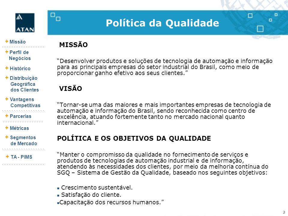 Política da Qualidade MISSÃO VISÃO