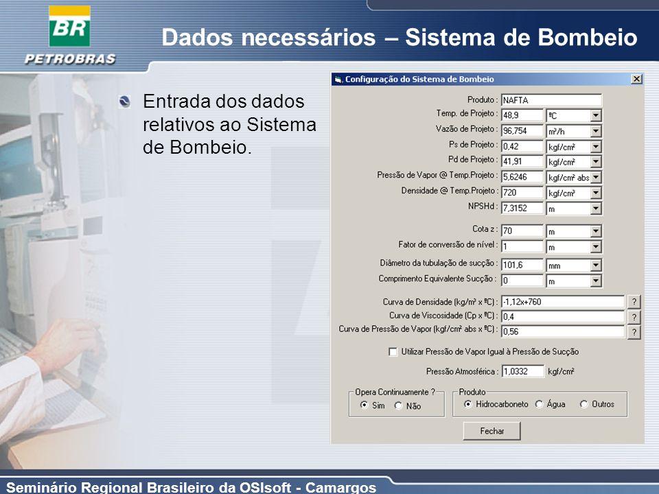 Dados necessários – Sistema de Bombeio