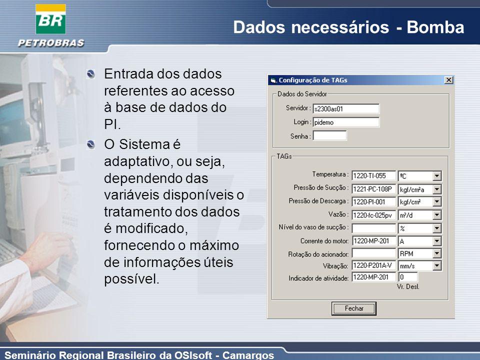 Dados necessários - Bomba