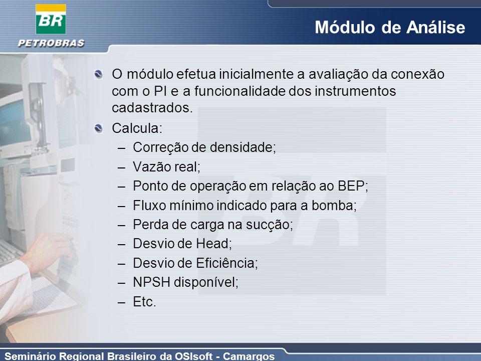 Módulo de Análise O módulo efetua inicialmente a avaliação da conexão com o PI e a funcionalidade dos instrumentos cadastrados.