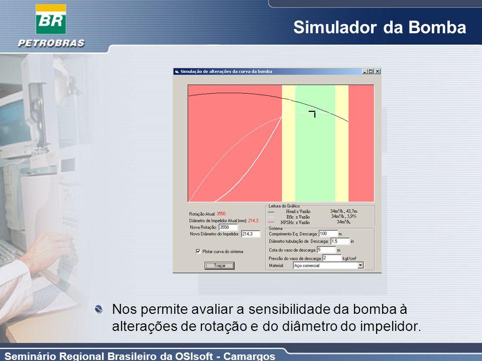 Simulador da Bomba Nos permite avaliar a sensibilidade da bomba à alterações de rotação e do diâmetro do impelidor.