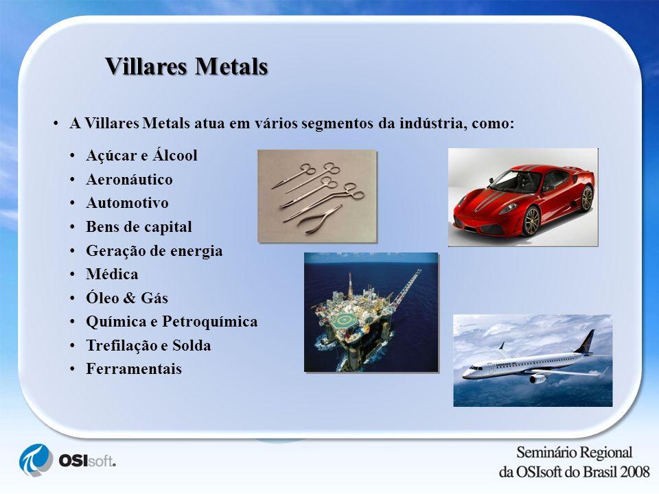 Villares Metals A Villares Metals atua em vários segmentos da indústria, como: Açúcar e Álcool. Aeronáutico.