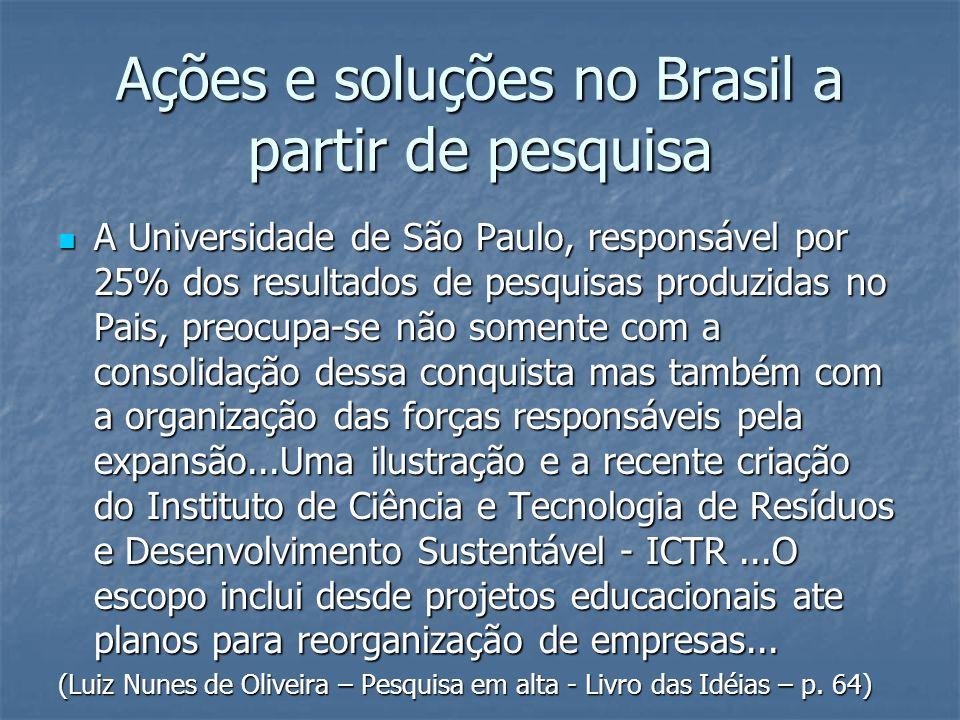 Ações e soluções no Brasil a partir de pesquisa