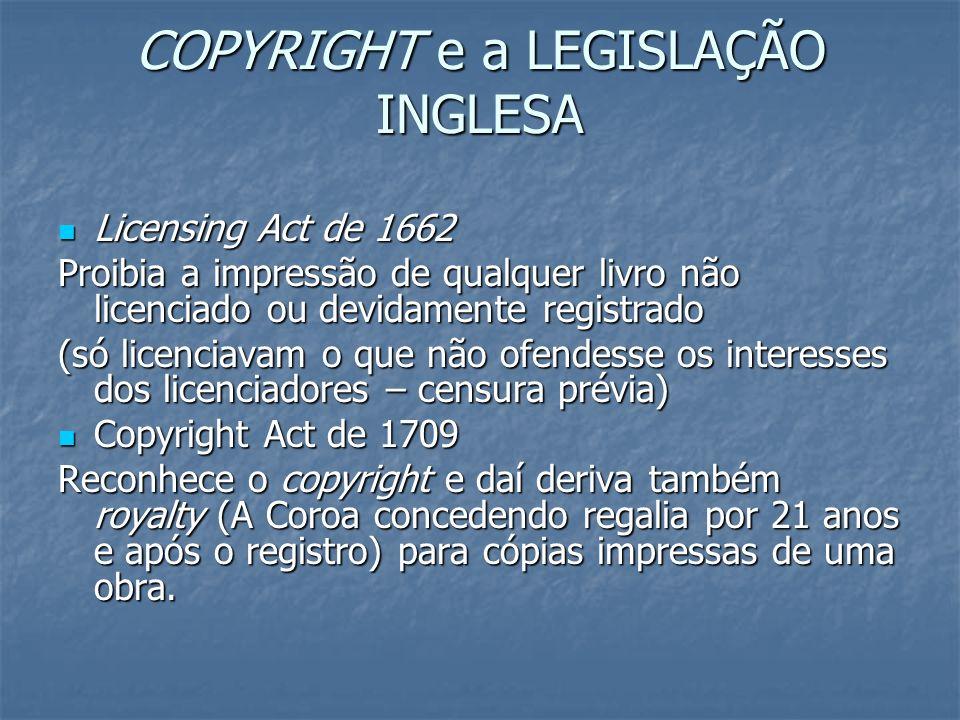 COPYRIGHT e a LEGISLAÇÃO INGLESA