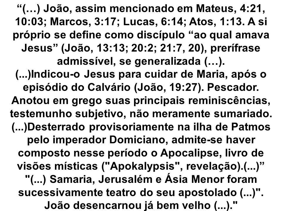 (…) João, assim mencionado em Mateus, 4:21, 10:03; Marcos, 3:17; Lucas, 6:14; Atos, 1:13. A si próprio se define como discípulo ao qual amava Jesus (João, 13:13; 20:2; 21:7, 20), prerífrase admissível, se generalizada (…).