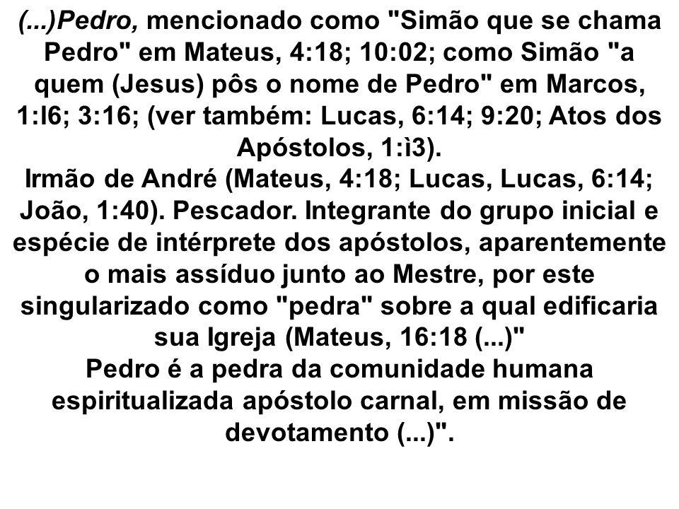 (...)Pedro, mencionado como Simão que se chama Pedro em Mateus, 4:18; 10:02; como Simão a quem (Jesus) pôs o nome de Pedro em Marcos, 1:l6; 3:16; (ver também: Lucas, 6:14; 9:20; Atos dos Apóstolos, 1:ì3).