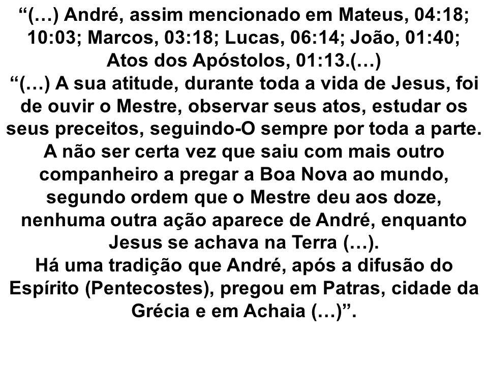 (…) André, assim mencionado em Mateus, 04:18; 10:03; Marcos, 03:18; Lucas, 06:14; João, 01:40; Atos dos Apóstolos, 01:13.(…)