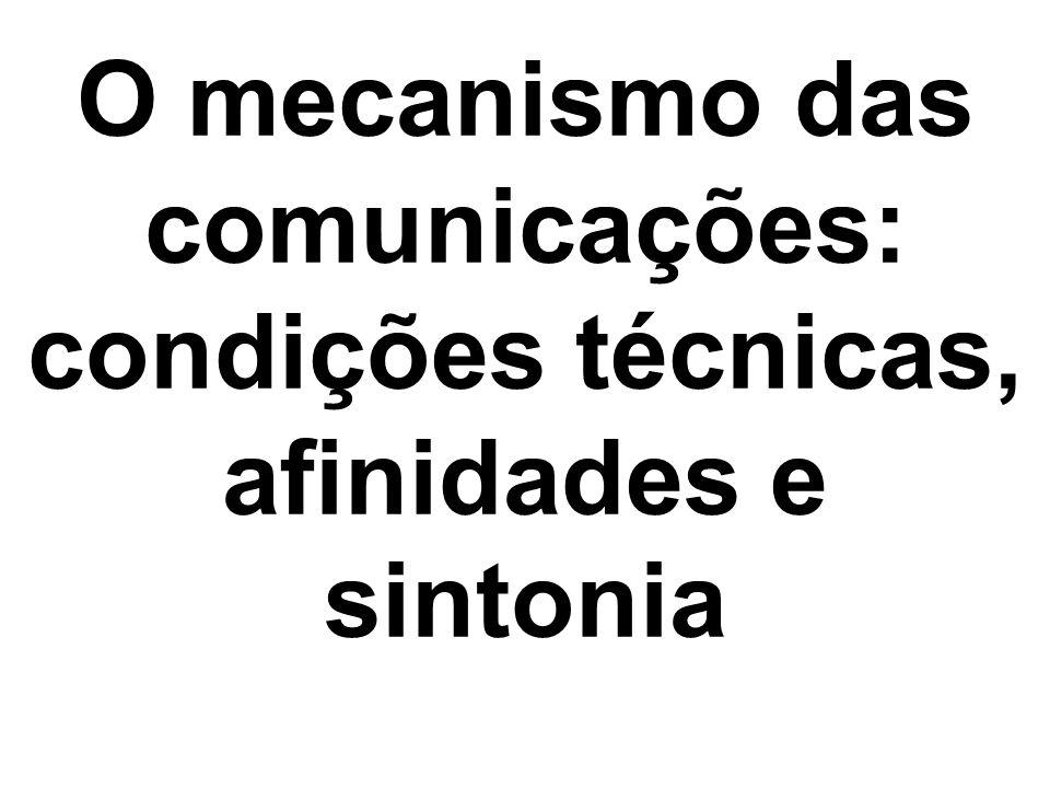 O mecanismo das comunicações: condições técnicas, afinidades e sintonia