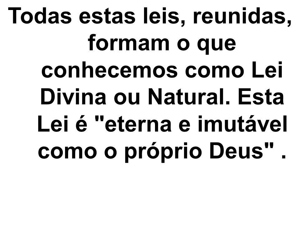 Todas estas leis, reunidas, formam o que conhecemos como Lei Divina ou Natural.