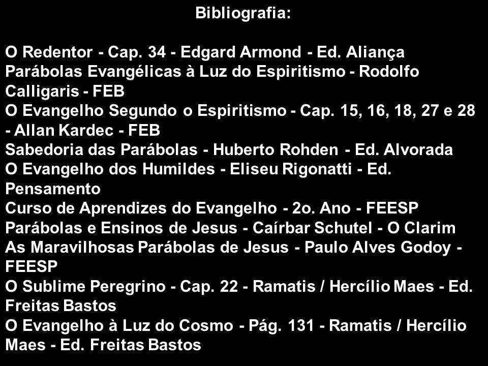 Bibliografia: O Redentor - Cap. 34 - Edgard Armond - Ed. Aliança. Parábolas Evangélicas à Luz do Espiritismo - Rodolfo Calligaris - FEB.