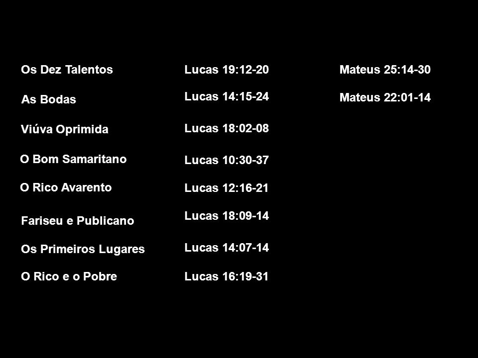 Os Dez Talentos Lucas 19:12-20. Mateus 25:14-30. As Bodas. Lucas 14:15-24. Mateus 22:01-14. Viúva Oprimida.