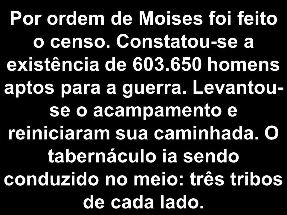 Por ordem de Moises foi feito o censo.