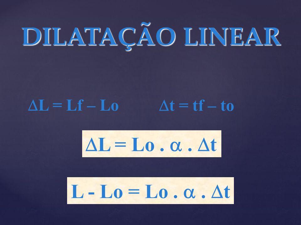 DILATAÇÃO LINEAR L = Lo .  . t L - Lo = Lo .  . t L = Lf – Lo