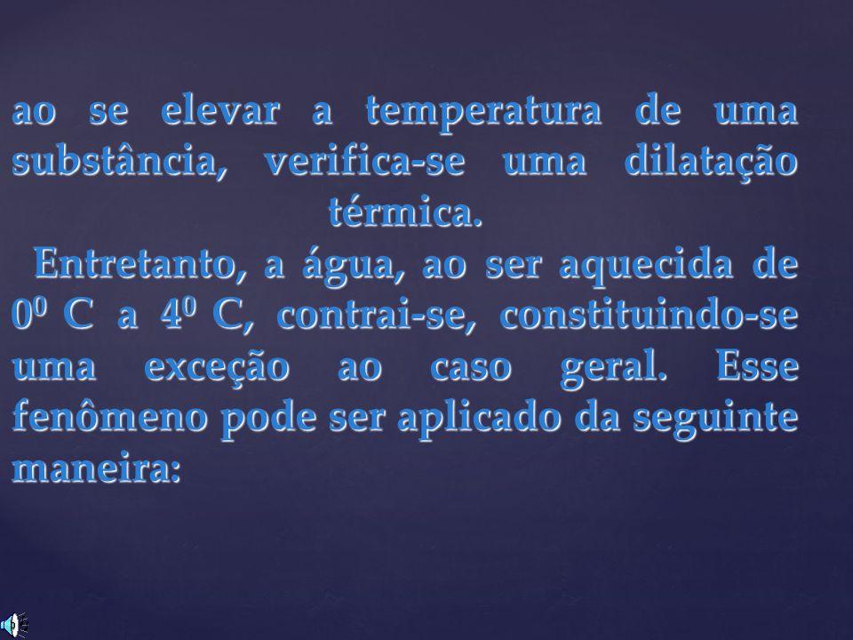 ao se elevar a temperatura de uma substância, verifica-se uma dilatação térmica.