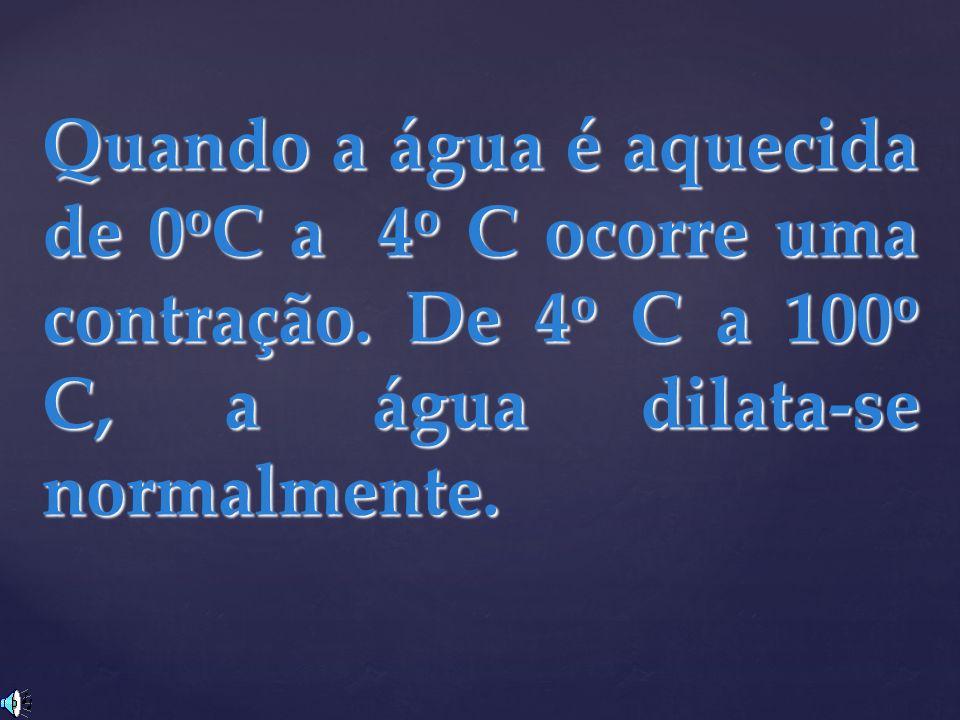 Quando a água é aquecida de 0oC a 4o C ocorre uma contração