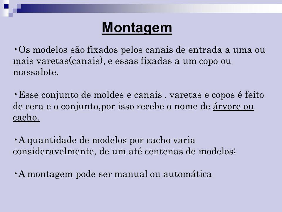 MontagemOs modelos são fixados pelos canais de entrada a uma ou mais varetas(canais), e essas fixadas a um copo ou massalote.