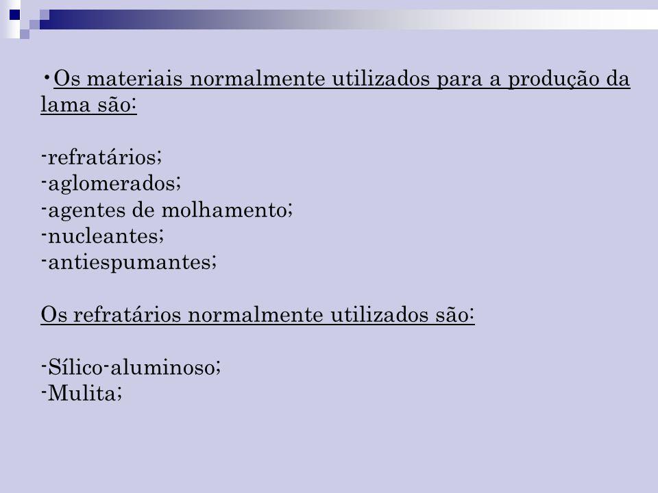 Os materiais normalmente utilizados para a produção da lama são: