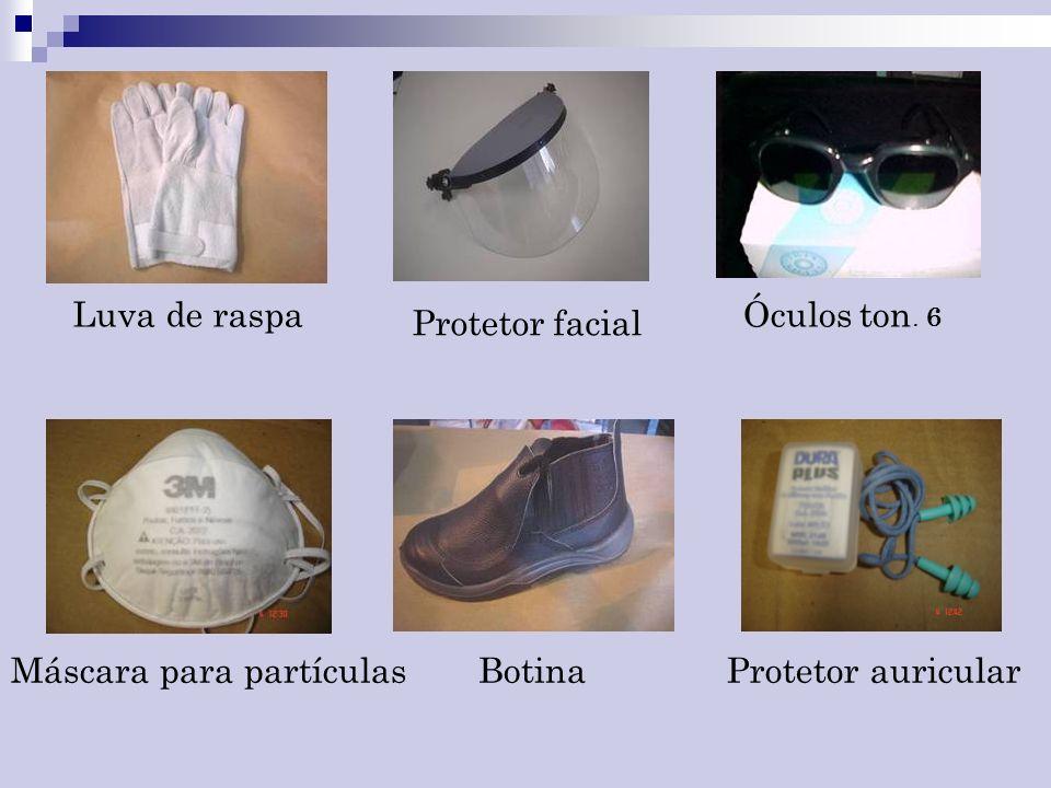 Luva de raspa Óculos ton. 6 Protetor facial Máscara para partículas Botina Protetor auricular