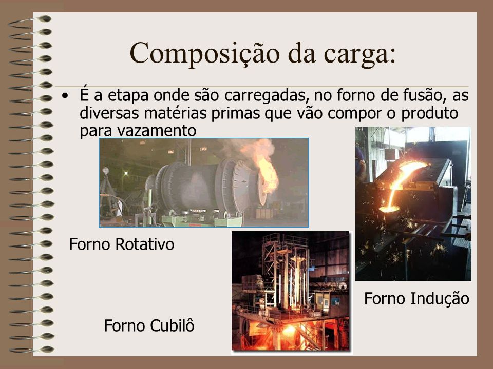Composição da carga:É a etapa onde são carregadas, no forno de fusão, as diversas matérias primas que vão compor o produto para vazamento.