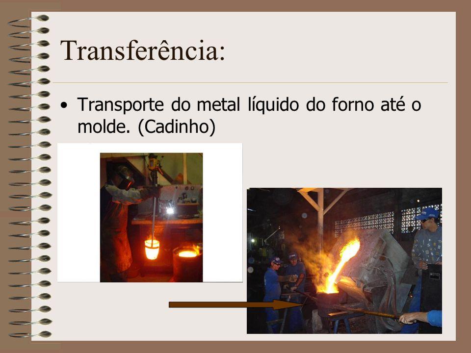 Transferência: Transporte do metal líquido do forno até o molde. (Cadinho)