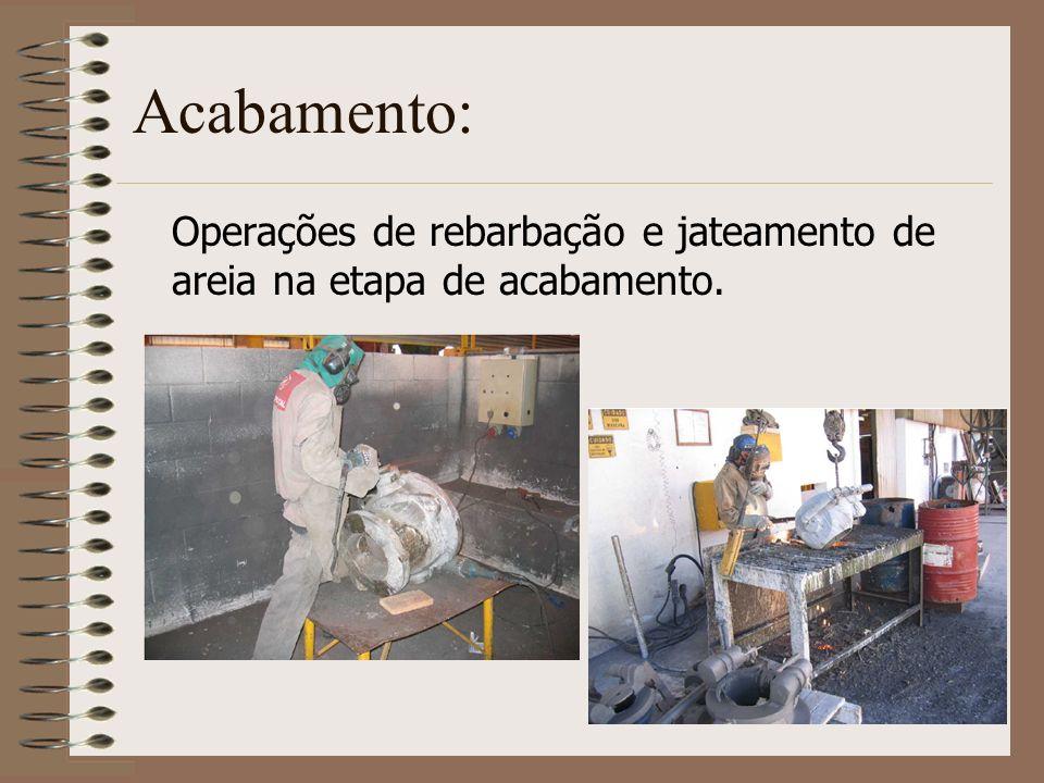 Acabamento: Operações de rebarbação e jateamento de areia na etapa de acabamento.