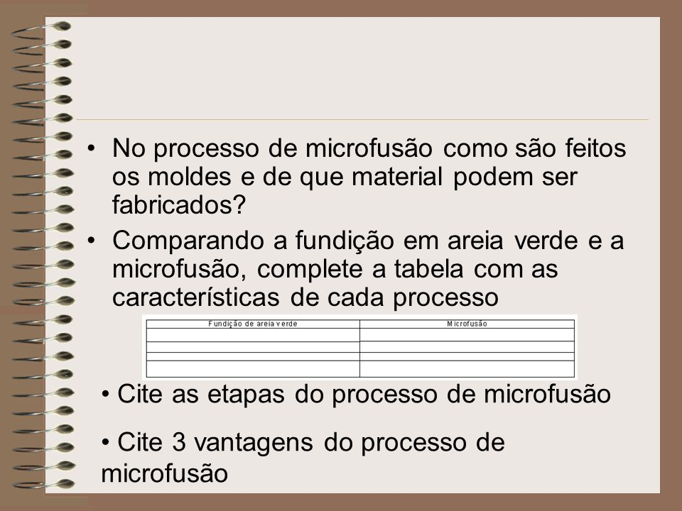 No processo de microfusão como são feitos os moldes e de que material podem ser fabricados