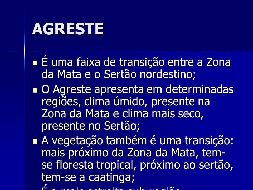 AGRESTE É uma faixa de transição entre a Zona da Mata e o Sertão nordestino;
